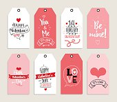 Valentines day gift cards, labels, and stickers. Template for Greeting