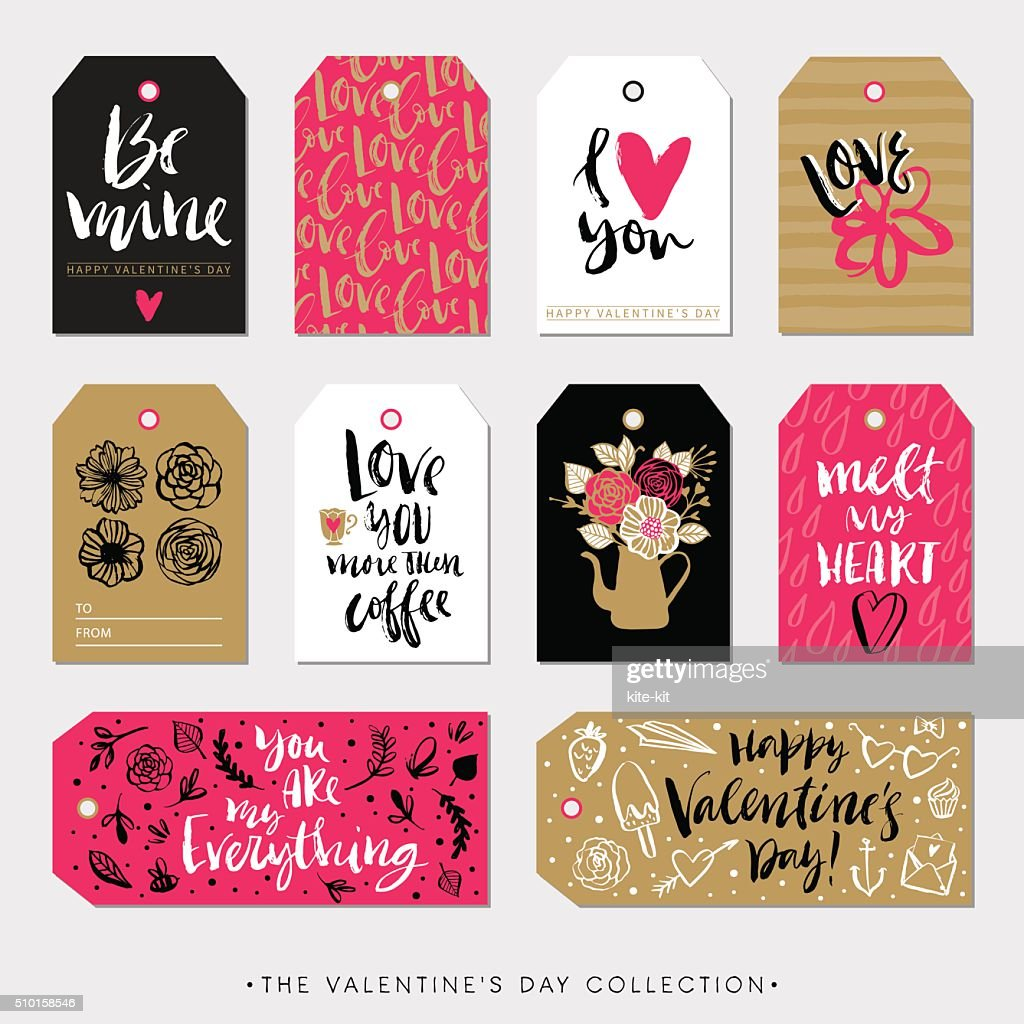 Valentines day gift tags and cards. Calligraphy hand drawn design.