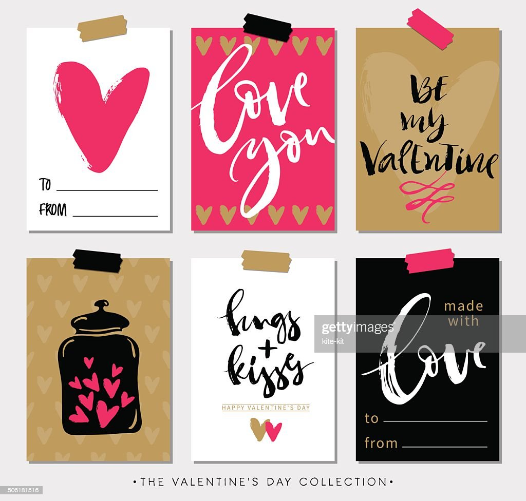 Valentines day gift tags and cards with calligraphy.