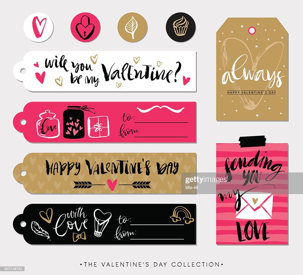 Valentines day gift tags, cards and stickers with calligraphy.