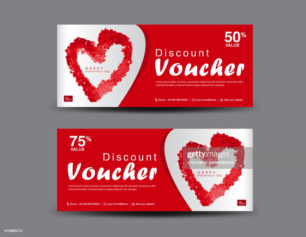 Valentine's Day Gift Voucher template layout, business flyer design, certificate, coupon, ticket, Discount card, Red heart icon, banner vector illustration