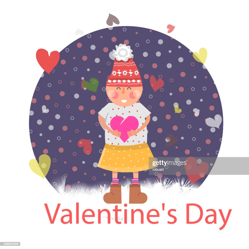 Valentines Day. Girl with Heart : Vector Art