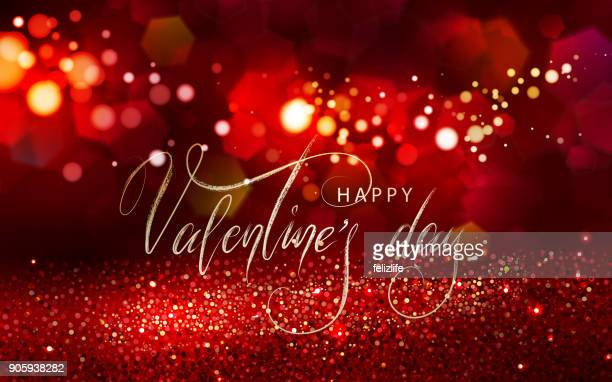 valentine's day glitter light background with lettering - happy new month stock illustrations