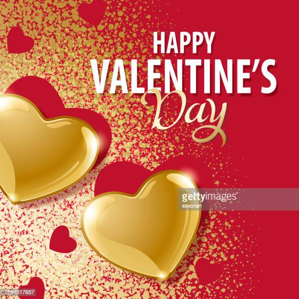 valentinstag gold herzen - farbpulver stock-grafiken, -clipart, -cartoons und -symbole