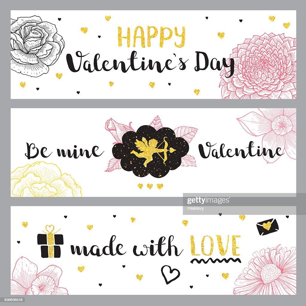 Valentines Day golden banners : Vector Art