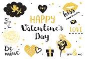 Valentines Day golden elements