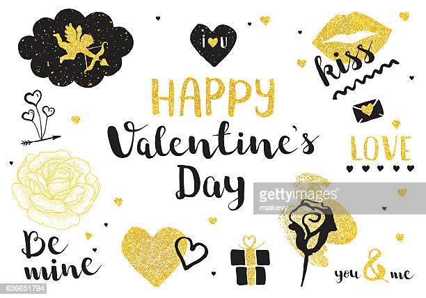 illustrations, cliparts, dessins animés et icônes de valentines day golden elements - cupidon and saint valentin