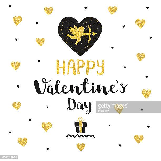 valentines day golden greeting - cupido stock illustrations
