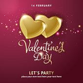 Valentine's Day Golden Hearts