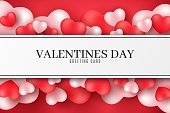 Valentine's Day greeting card. 3D hearts on a red background. Romantic composition. Festive web banner. Love label. Vector illustration. EPS 10