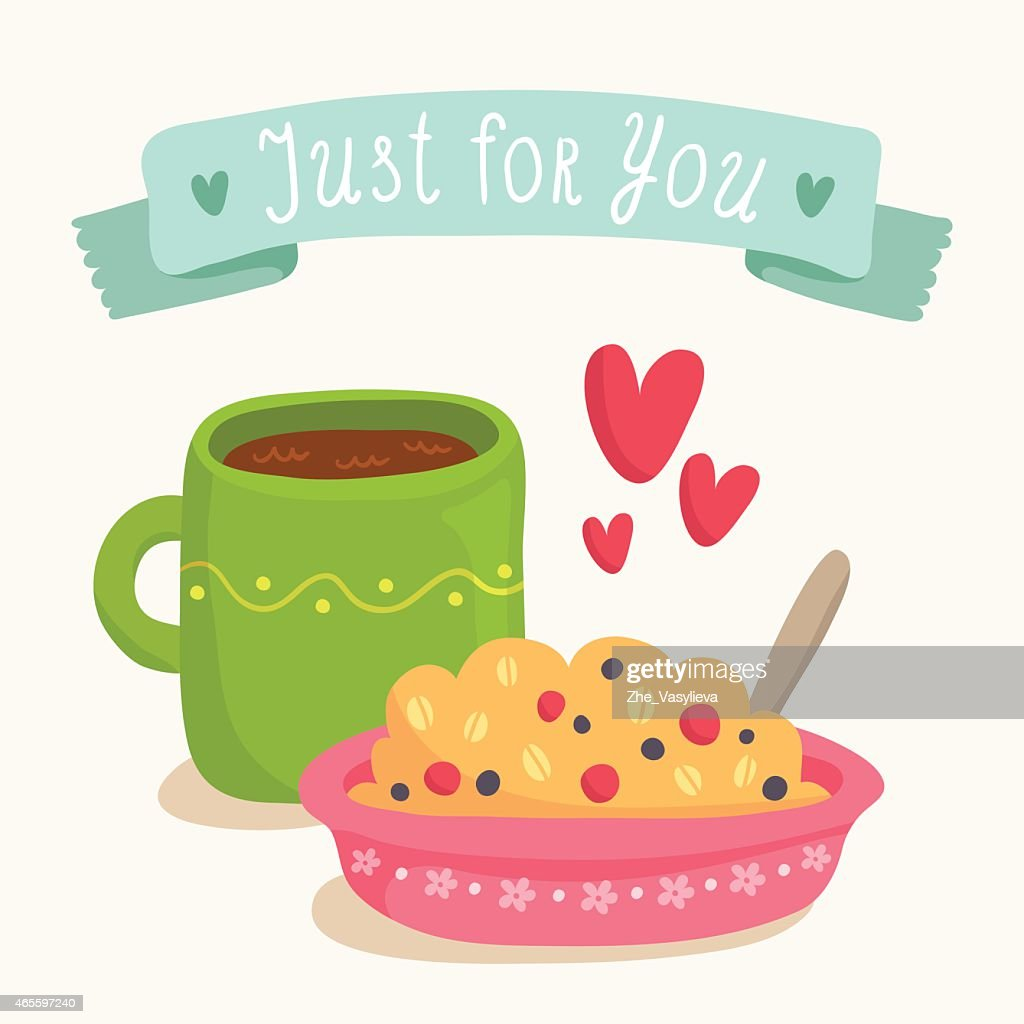 Valentines Day Greeting Card Design With Romantic Breakfast Vector