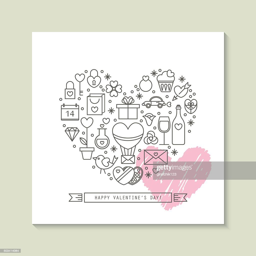 Valentine's day greeting card design with thin line icons