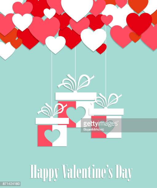 valentines day greeting card. love background. hanging gifts with hearts. vector illustration. - february stock illustrations