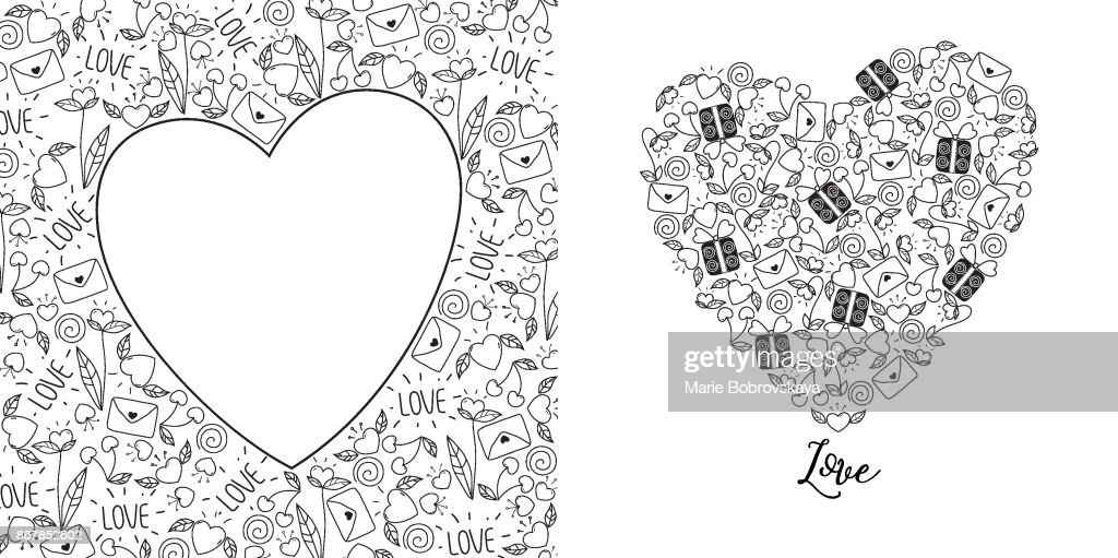Valentines day greeting card set in doodle style in black and white.
