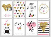 Valentine's day greeting card set with hearts. Gift tags with gold glitter texture.