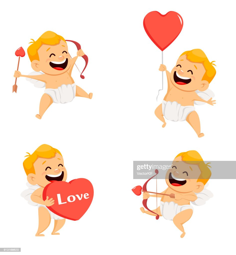 Valentines Day greeting card with cheerful cupid. Set of smiling cartoon character on white background. Vector illustration
