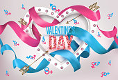 Valentine's Day greeting card with heart shaped light frame, curly ribbons and symbols of man and woman. Vector illustration
