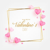 Valentine's Day Greeting Card with Hearts paper cut style. Invitation Card Layout Template Design. Vector Illustration