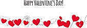 Valentine's day greeting card with love symbols. Doodle style