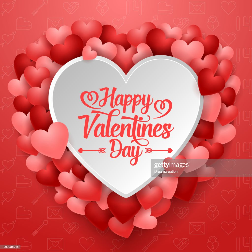 Valentines day greeting card with many hearts