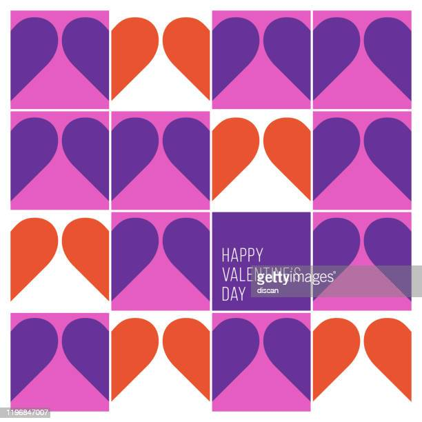 valentine's day greeting card with modern geometric background. - valentine's day holiday stock illustrations