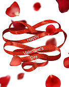 Valentine's Day greeting card with red curly ribbon and red rose flying petals