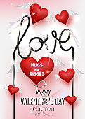 Valentine's Day  greeting card with red hearts with wingsm arrows and sparkler. Vector illustration