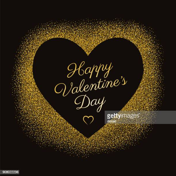 valentine's day greeting card with sparkles gold heart on black background. - gift tag note stock illustrations, clip art, cartoons, & icons