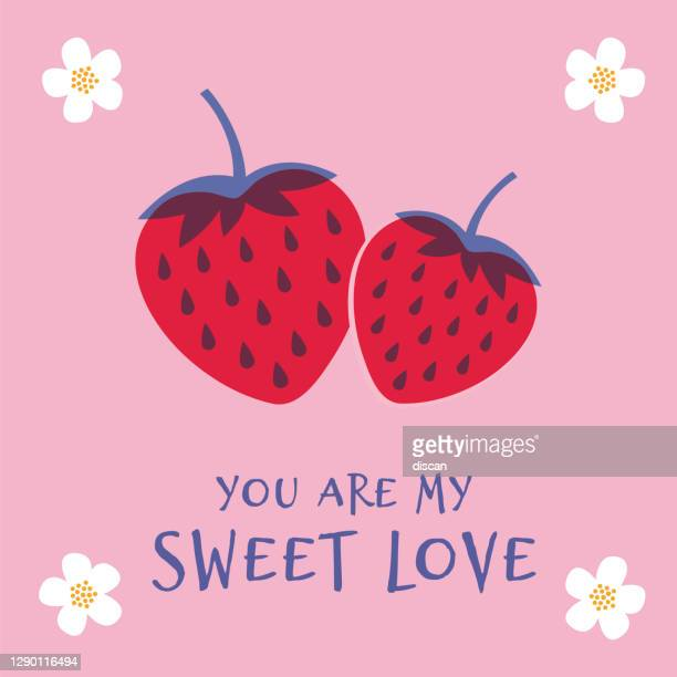 valentine's day greeting card with strawberry. spring holidays. vector illustration. - gift tag note stock illustrations
