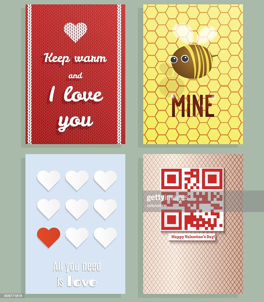 Valentines day greeting cards vector set