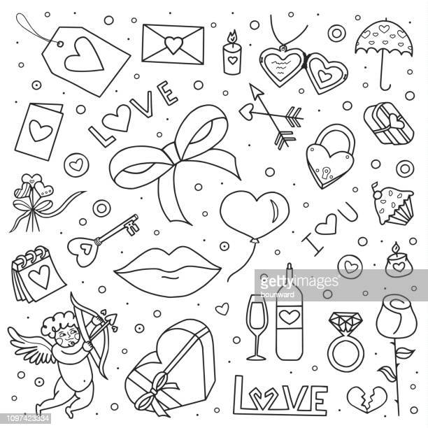 valentine's day hand drawn doodle icons - cupido stock illustrations