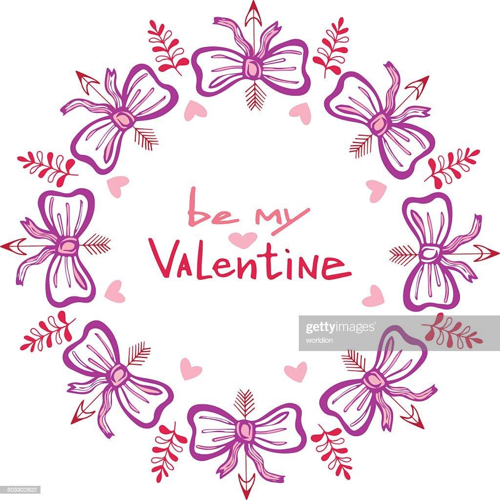 Valentines day handwritten card with cute frame. Hand drawn