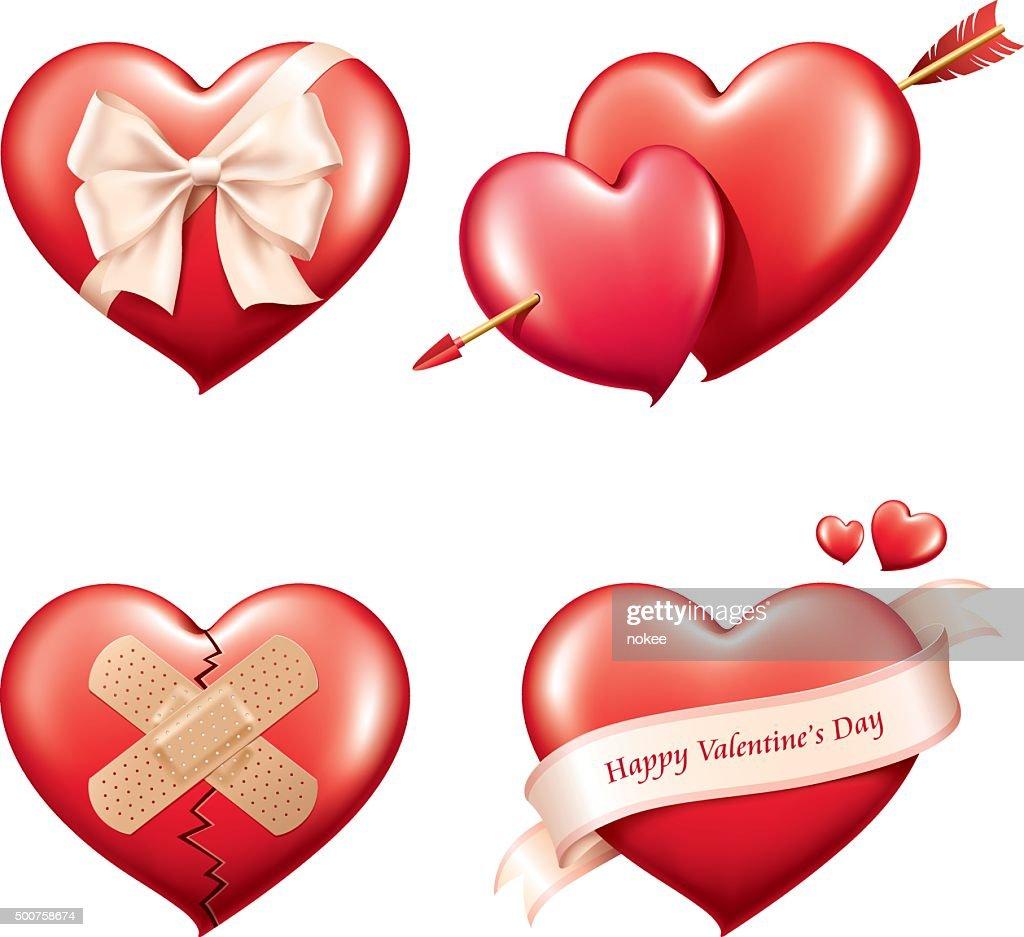 Valentine's day heart set