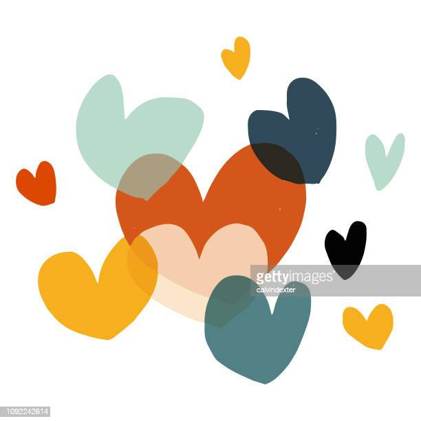 valentine's day heart shapes - togetherness stock illustrations