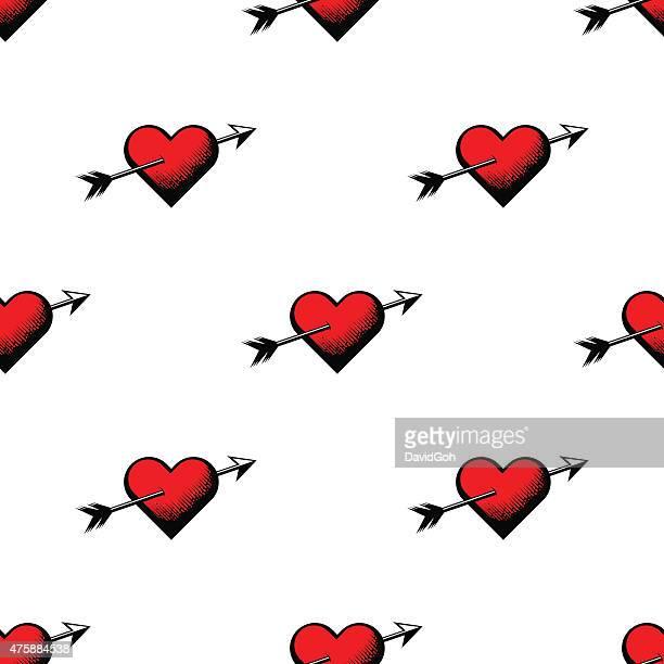 stockillustraties, clipart, cartoons en iconen met valentine's day hearts seamless pattern - cupidon