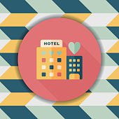 Valentine's day hotel flat icon with long shadow,eps10