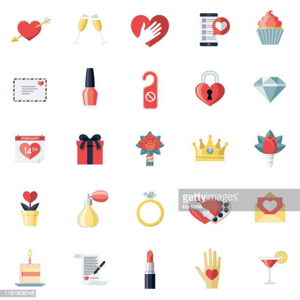 ilustraciones, imágenes clip art, dibujos animados e iconos de stock de conjunto de iconos del día de san valentín - carta de amor