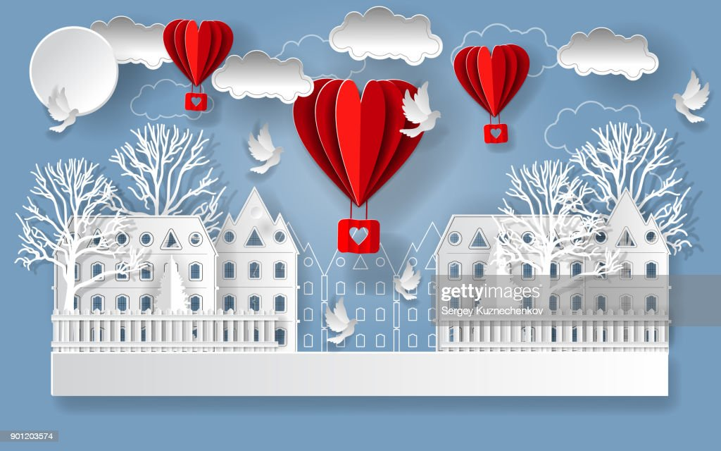 Valentine's day illustration. Paper city and clouds, pigeons and balloons in form of hearts.