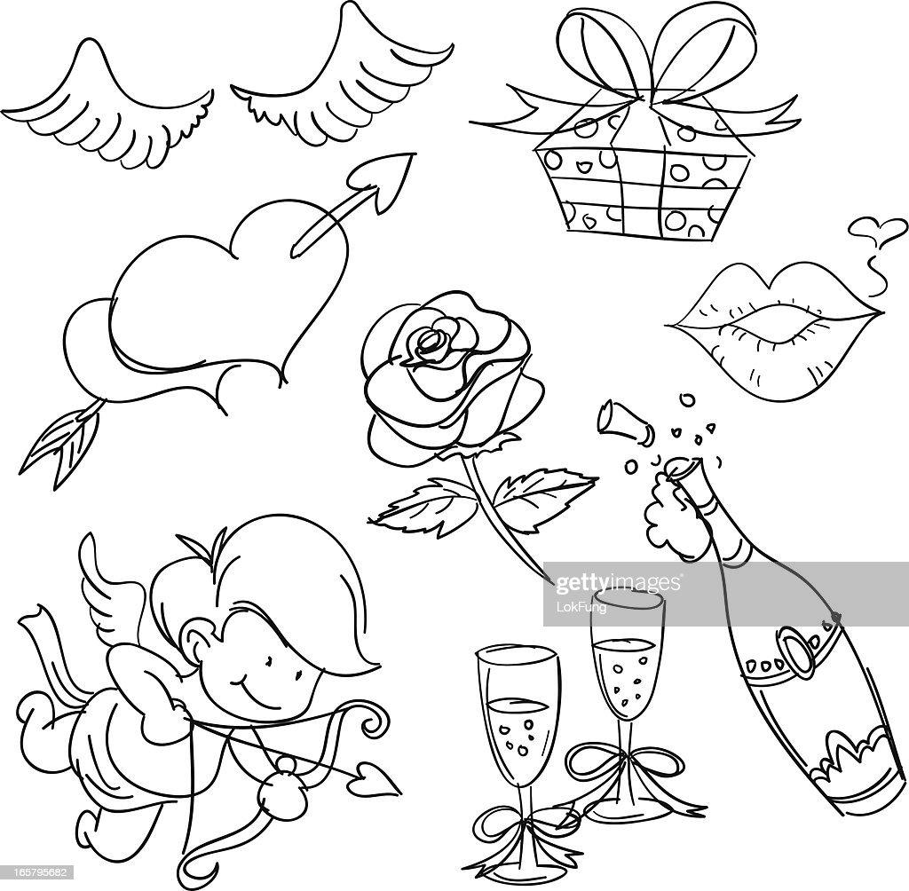 Valentine's day in sketch style