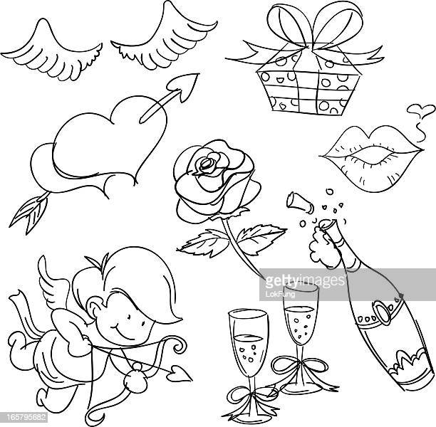 valentine's day in sketch style - cupid stock illustrations