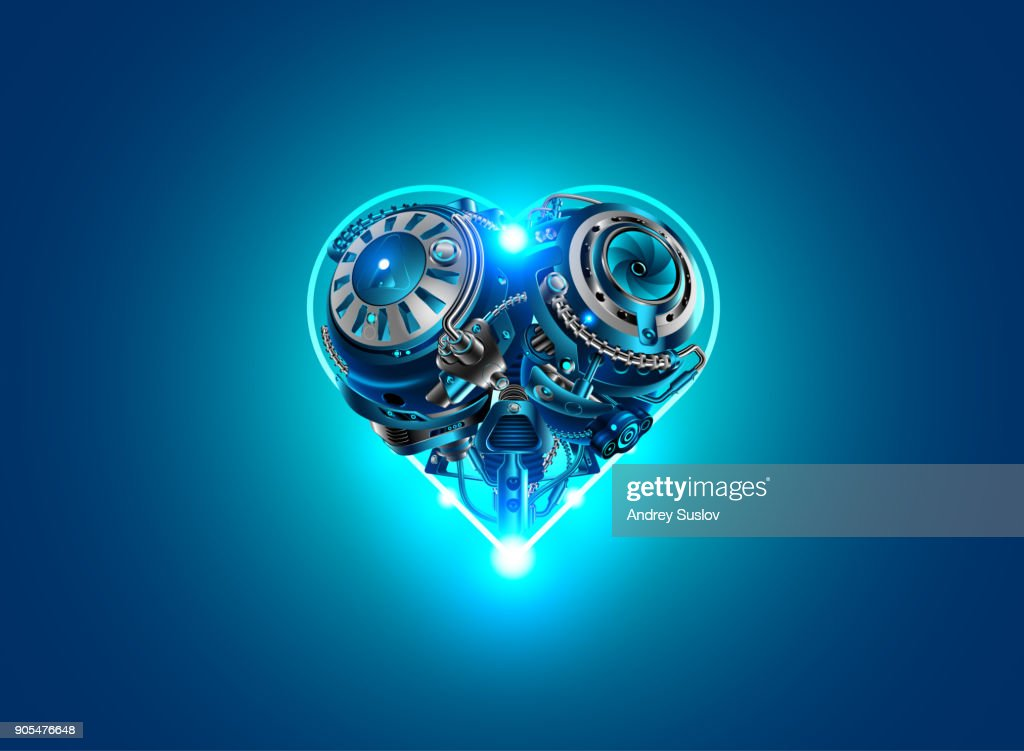 Valentine's day in style, technology, robots, industry, cybernetics and science. Mechanical heart