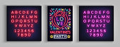 Valentines Day invitation to a party postcard. Neon sign, Design Template, Vivid Anniversary Celebration advertisement, Bright Banner, Neon Style Flyer. Vector illustration. Editing text neon sign