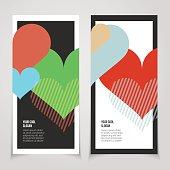 Valentines Day invite card. Love heart banner. Love vector