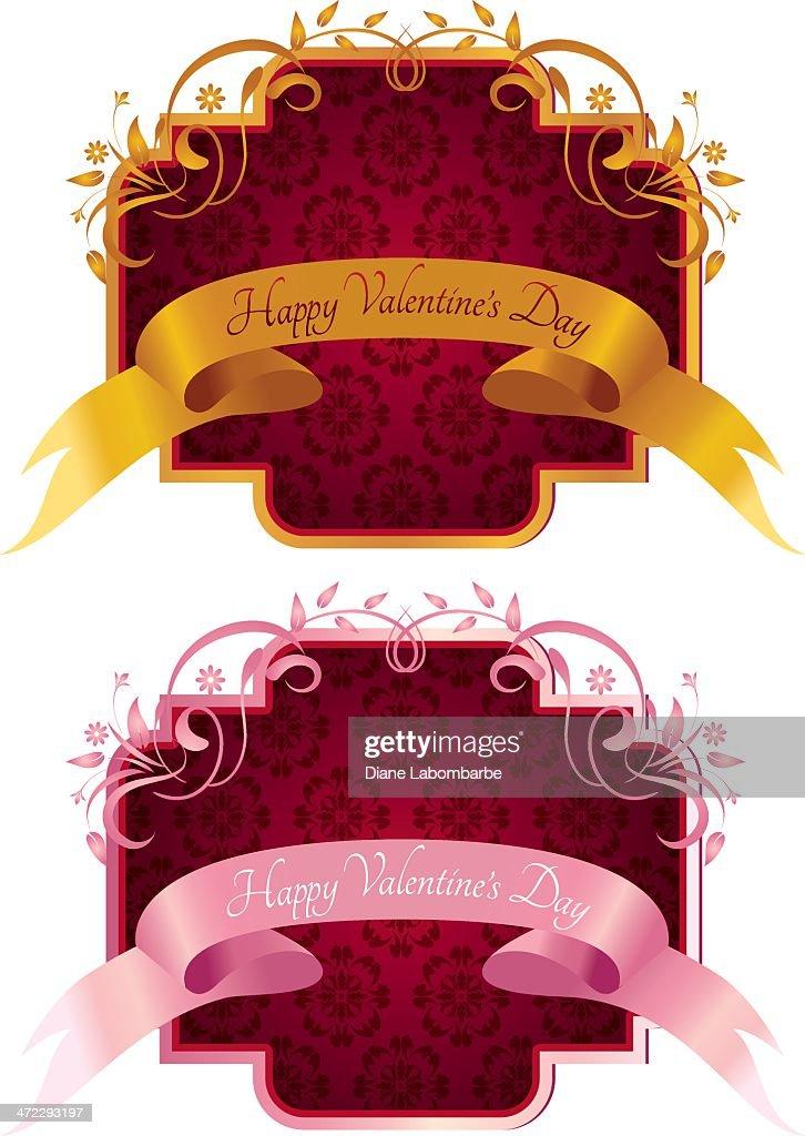 Valentines Day Label On Damask Frame Vector Art | Getty Images
