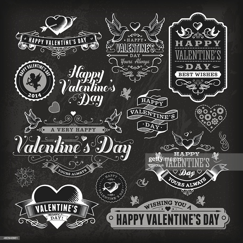 Valentine's Day Label Set - Chalkboard