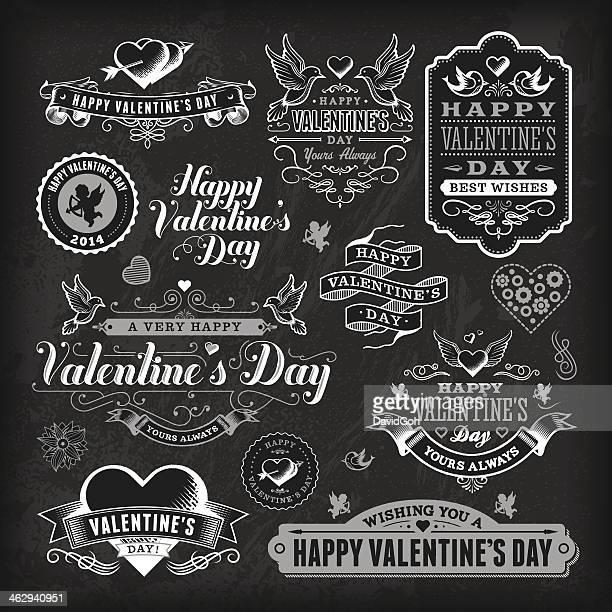 バレンタインデー黒板ラベルのセット- - 小さめのハト点のイラスト素材/クリップアート素材/マンガ素材/アイコン素材