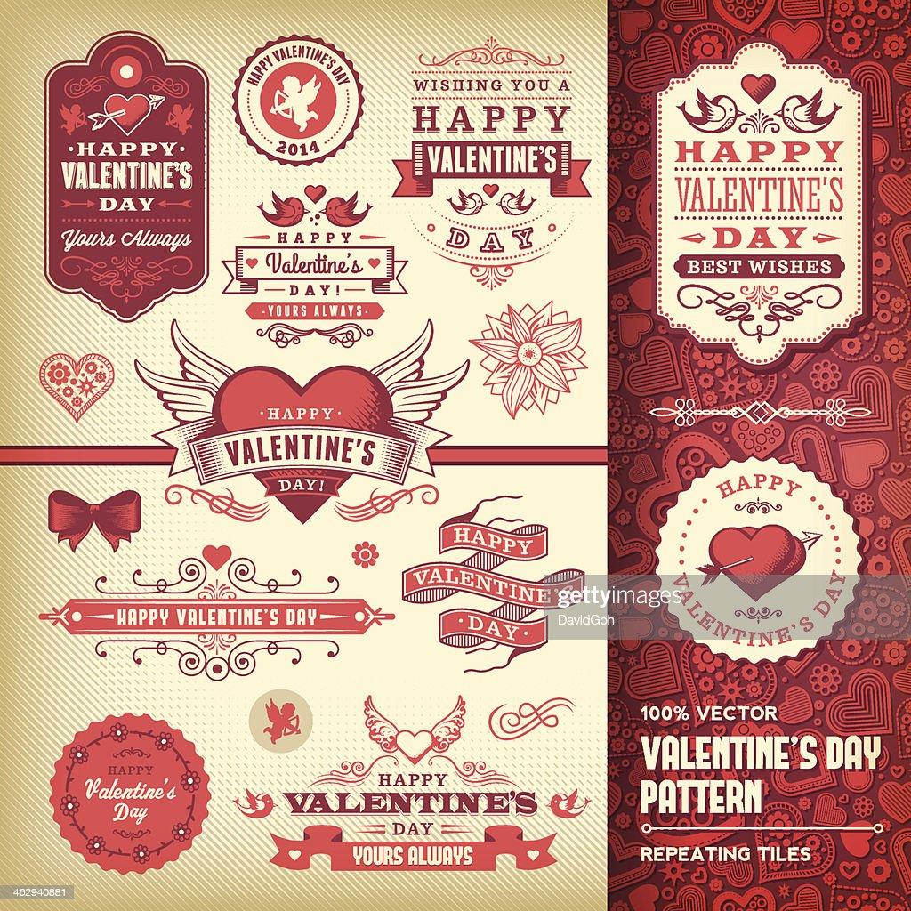 Valentine's Day Label Set : Stockillustraties