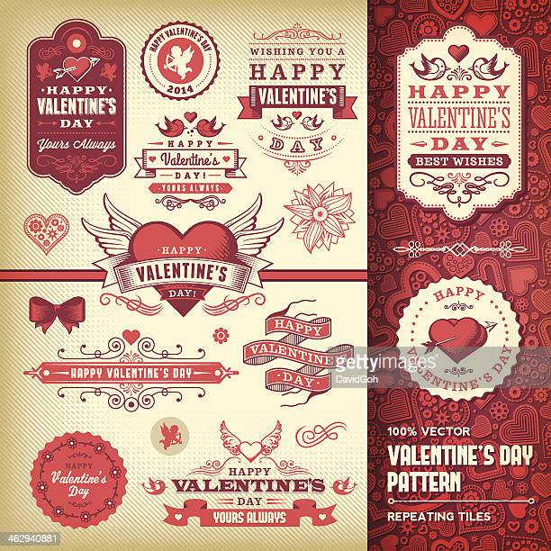 stockillustraties, clipart, cartoons en iconen met valentine's day label set - cupidon