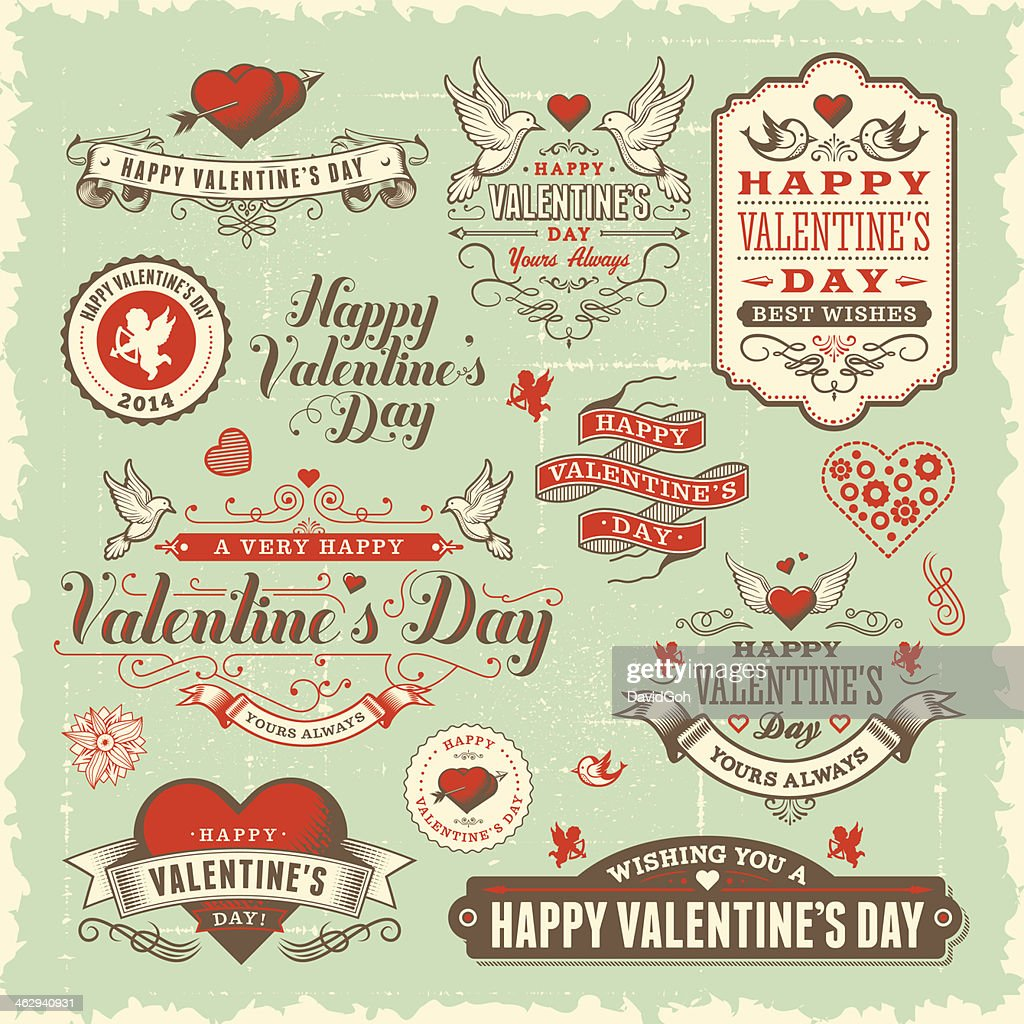 Valentine's Day Label Set : Vector Art
