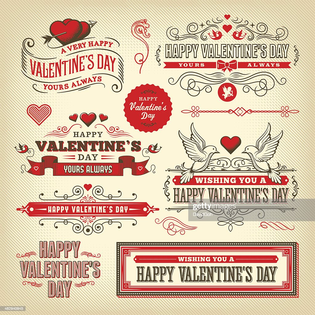 Valentine's Day Label Set : Vector Art
